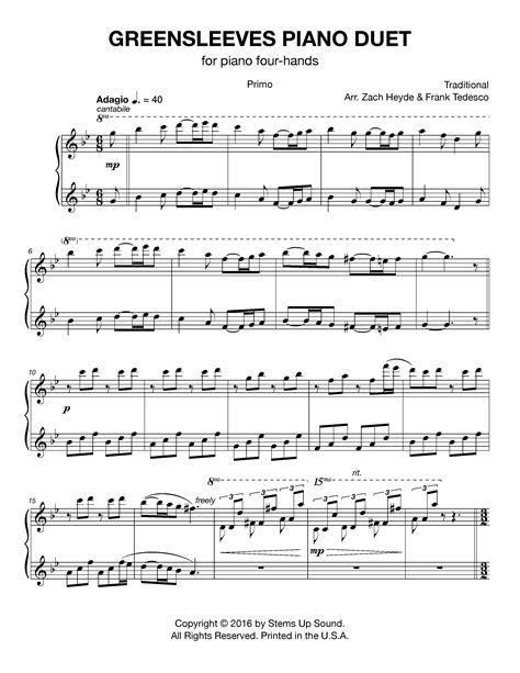 song duet greensleeves piano duet stems up sound