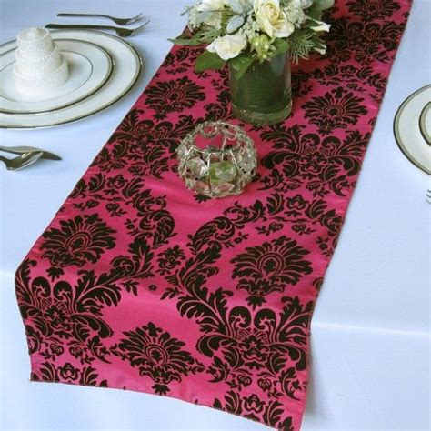 damask table runners cheap pink and black flocked damask taffeta table