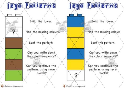 pattern making ks1 teacher s pet activities games 187 lego pattern cards