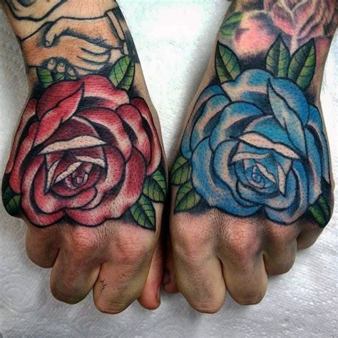 blue and red rose tattoo 60 traditional designs for retro ideas