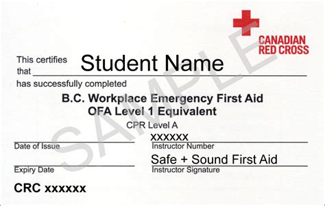 aid certificate template workplace emergency aid coquitlam aid