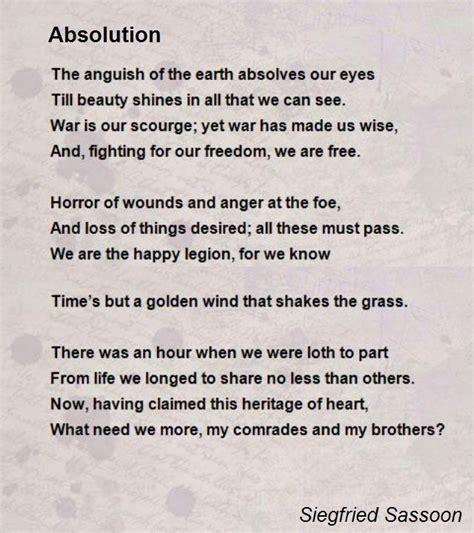 absolution poem  siegfried sassoon poem hunter