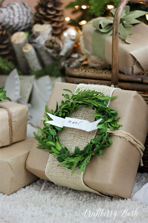 wrapping presents craft paper and boxwood wreath gift wrap craftberry bush