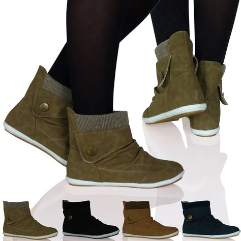 new womens flat ankle boots booties thick sock