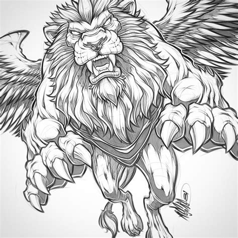 lion with wings tattoo winged pencils beast wings illustration