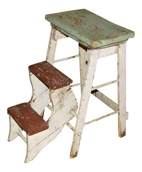 Shabby Chic Step Stool shabby chic farmhouse step stool seat chairish