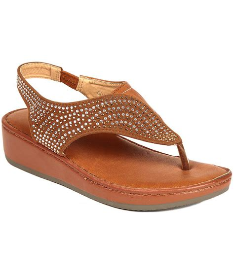 Faux Leather Flat Sandals ruby brown faux leather flat sandal price in india buy