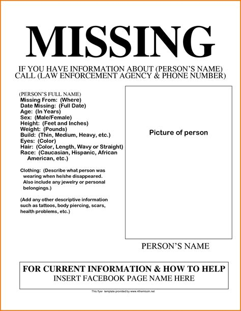 missing flyer template missing person poster templatereference letters words