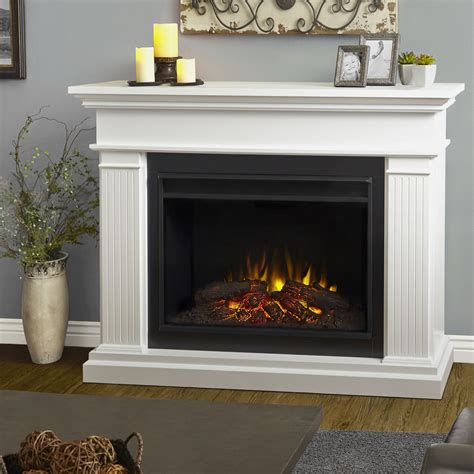White Electric Fireplace 55 5 Quot Kennedy Grand White Electric Fireplace