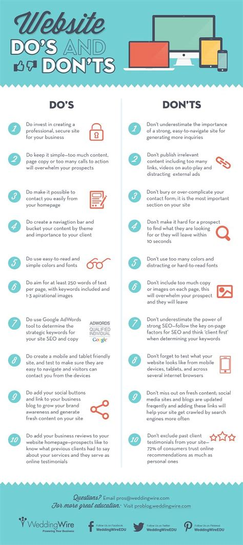 20 Dos And Donts Of A Date by 20 Do S And Don Ts For A Successful Small Business Website