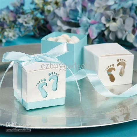 Wholesale Baby Shower Favor Boxes by Wholesale Laser Cut Blue Baby Boy Baby Shower Favor Boxes