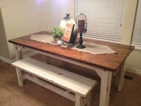 Benches For Kitchen Tables Rustic Nail Farm Style Kitchen Table And Benches To Match