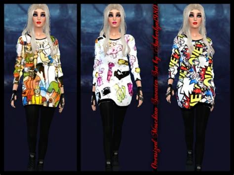 oversized sweater sims 4 cc 16 sims 3 baggy sweater chihiro t shirt all ages both