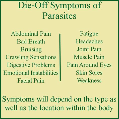 Signs Of Parasites Detox by The Die Symptoms Of Parasites Include Weakness