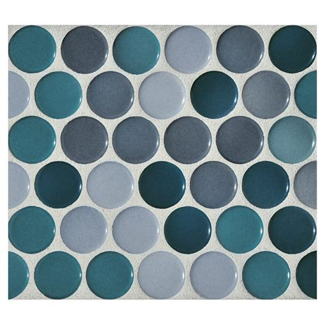 Kitchen Design Consultants by Penny Round Mosaic Cerulean Blend Gloss Complete Tile