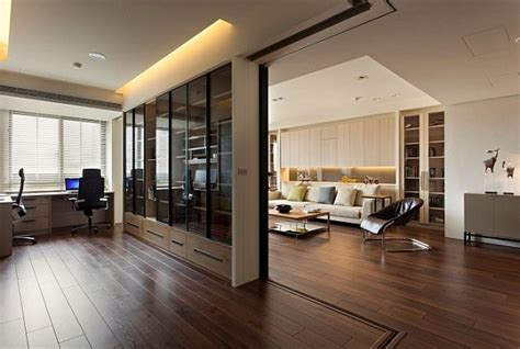 modern apartment  retractable glass walls  home