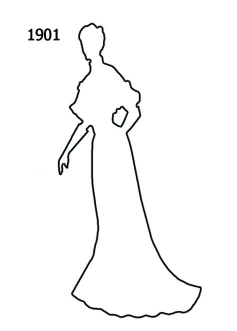 Fashion Outline by Free Outline White Silhouettes 1900 1910 In Costume History 1b