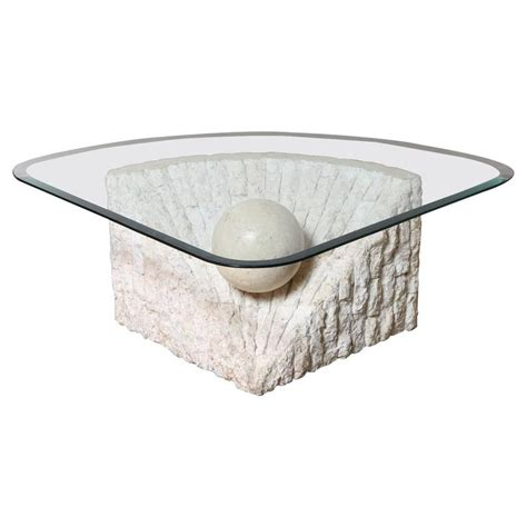 Triangular Marble And Travertine Coffee Table With Beveled Glass And Marble Coffee Table