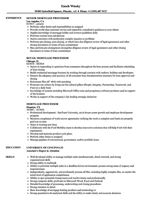 Mortgage Processor Resume by Mortgage Processor Resume Sles Velvet