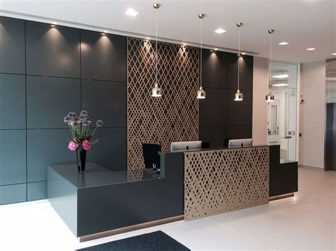 Reception Desk Design Aberdeen Asset Management Reception Laser Cut Screens Weave Design By And
