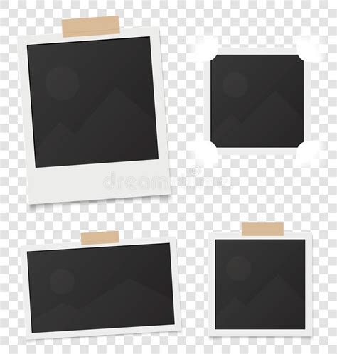 Collage Of Realistic Blank Instant Photos Isolated On Sticky Tape Vector Illustration Set Blank Collage Design Templates