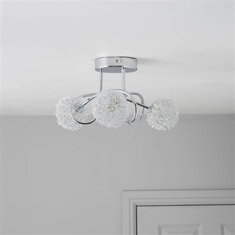 Ceiling Lights B Q Pallas Chrome Effect 3 L Ceiling Light Departments Diy At B Q