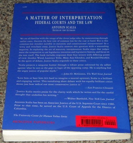 a matter of interpretation federal courts and the the center for human values series books a matter of interpretation federal courts and the