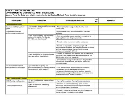 audit checklist template  greatjob internal audit