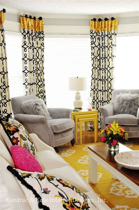 Living Room With Yellow Curtains Yellow And Grey Curtains Family Room With Area Rug