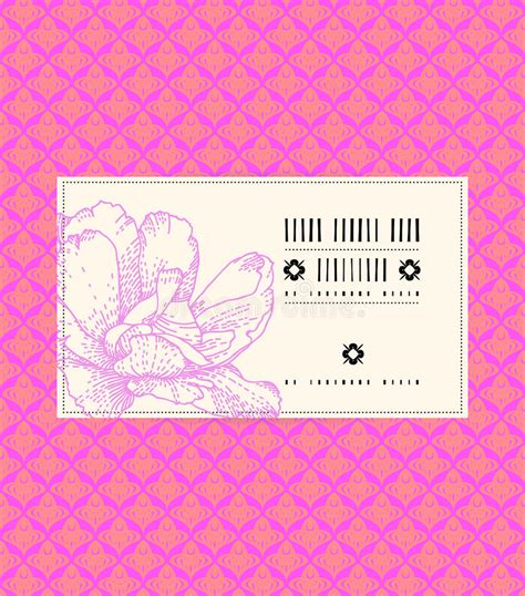 vector vintage card with peony flower royalty free stock