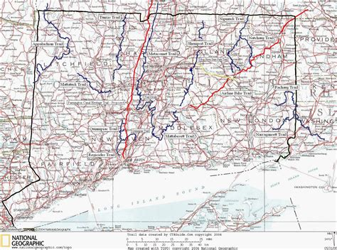ct road map connecticut distance trails map west haddam
