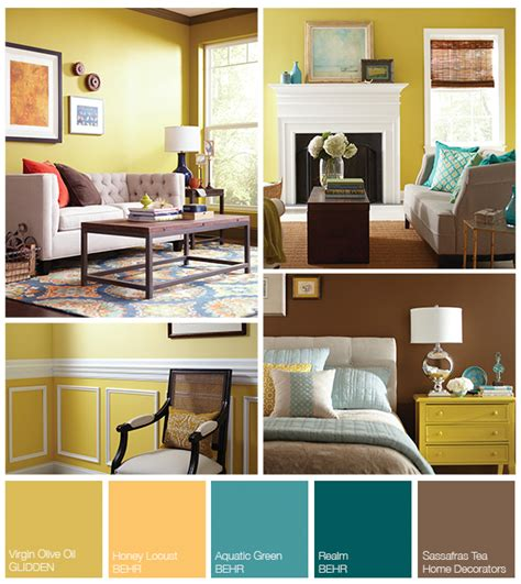 yellow living room color schemes color schemes a yellow teal inspired palette the home depot teal living rooms and room