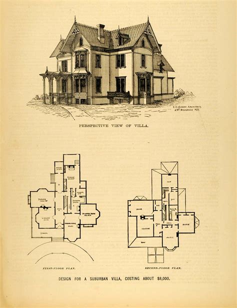 Victorian Floor Plan by 1878 Print Victorian Villa House Architectural Design