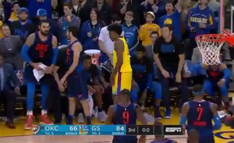 okc bench video russell westbrook shoves nick young for celebrating