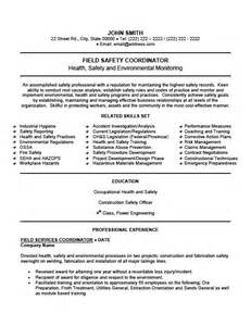 Health And Safety Coordinator Sle Resume by Field Safety Coordinator Resume Template Premium Resume Sles Exle