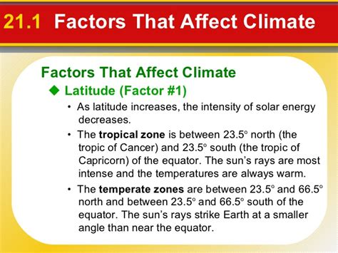 Section 21 1 Factors That Affect Climate Worksheet Answer Key