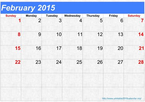 February 2015 Printable Calendar 9 Best Images Of Blank February Calendar 2015 Printable