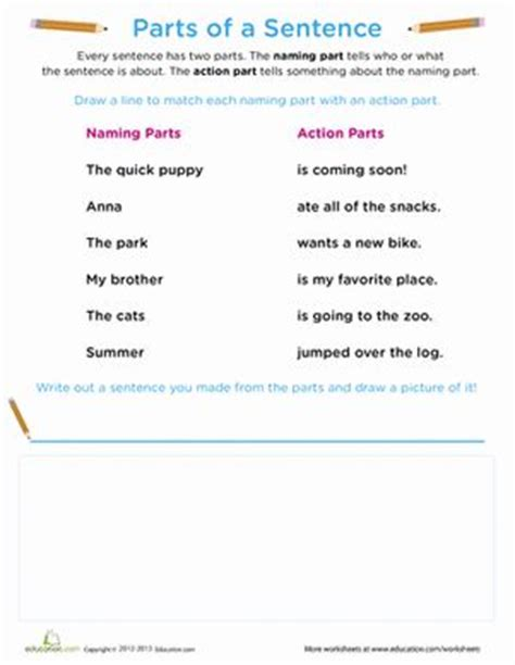 Award Letter Used In A Sentence Beginning Grammar Parts Of A Sentence Sentences Worksheets And Writing Sentences