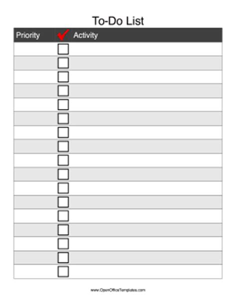 tick list template to do checklist openoffice template