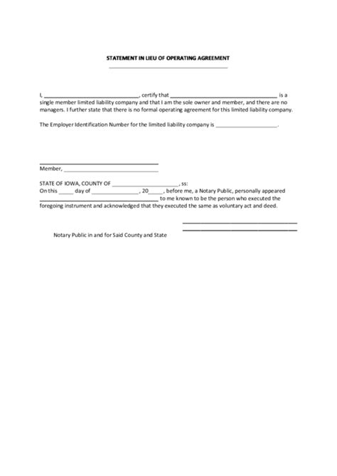 Fillable Statement In Lieu Of Operating Agreement
