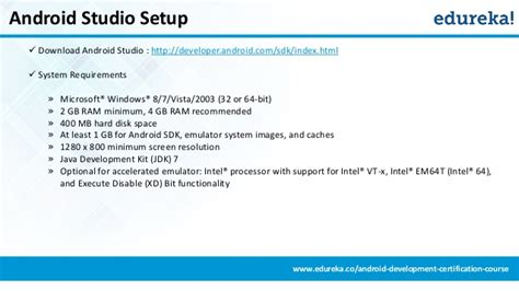 android studio requirements getting started with android development