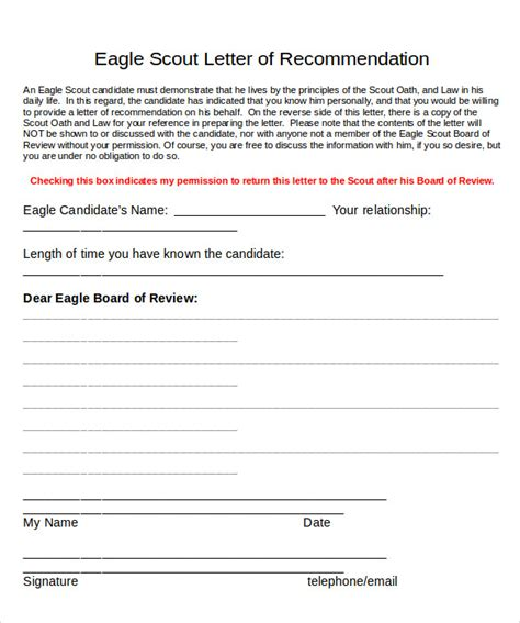 eagle scout recommendation letter template sle eagle scout letter of recommendation 9 documents in pdf word