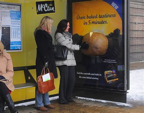 multisensory bus shelter ad smells of baked potatoes