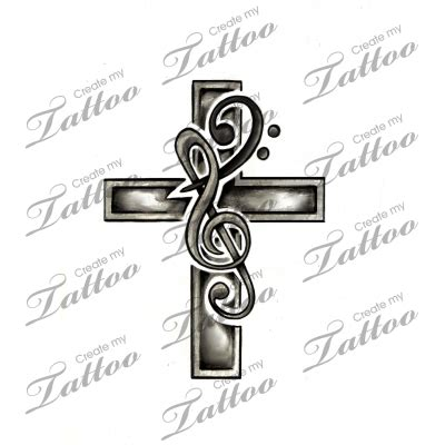 music cross tattoo marketplace cross treble bass clef 6408
