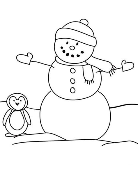 christmas tree and snowman coloring pages snowman and a penguin coloring page snowman and a penguin