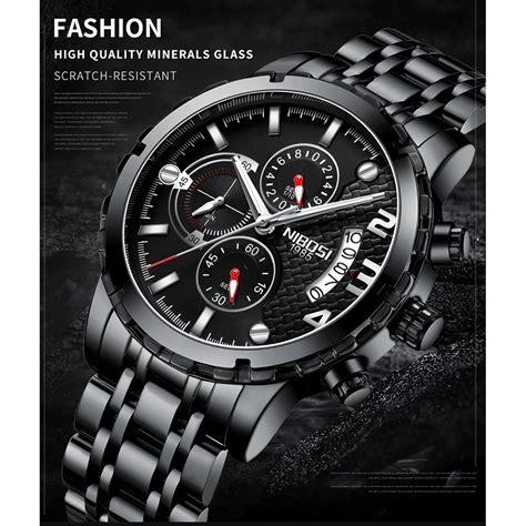 nibosi jam tangan kasual pria stainless steel
