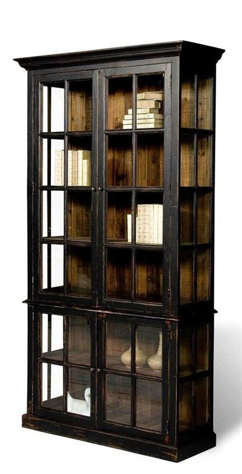 black bookcase distress finish fir hardwood glass doors