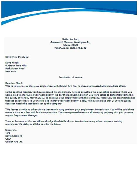 at will employee termination letter sample termination letter