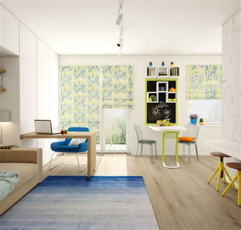a small apartment design with floor plan