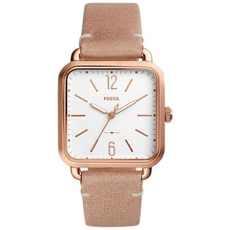 Fossil Rectangle Rosegoldwhite buy fossil es4254 s gold leather square white lewis